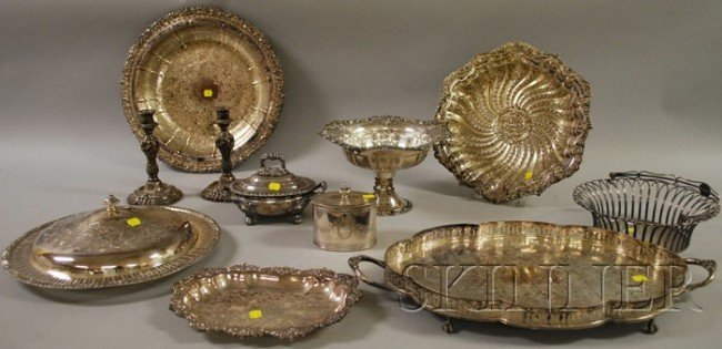13: Approximately Eleven Pieces of Silver-Plated Tablew