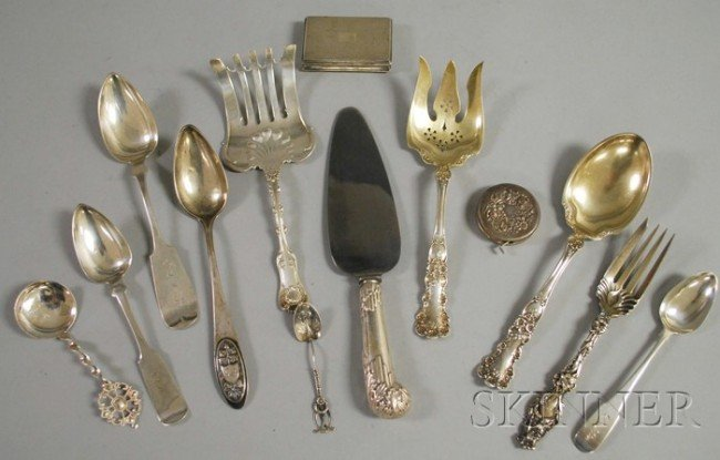 19: Group of Silver Flatware and Personal Items, four W