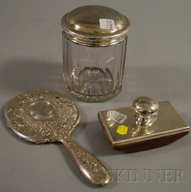 20: Tiffany Sterling Hand Mirror, a sterling lidded hum