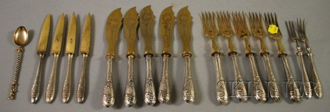 24: Continental Silver-handled Fish Flatware Set for Fi