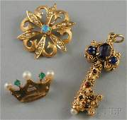 419 Three 14kt Gold Jewelry Items an opal and seed pe