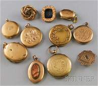 454: Small Group of Mostly Victorian Gilt Lockets and B