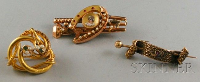 Three Antique 14kt Gold Gem-set Brooches, a seed p