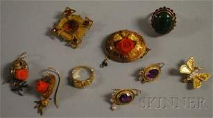 607: Small Group of Antique Jewelry, including a granul