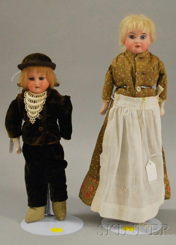 1001: Two German Bisque Shoulder Head Dolls, Armand Mar