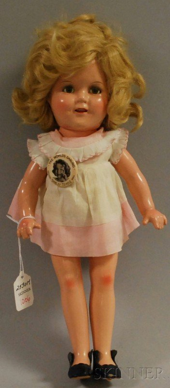 1006: Shirley Temple Doll with Original Button, blue sl