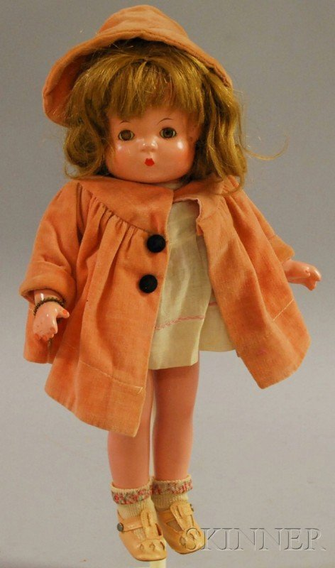 1007: Effanbee Patsy Composite Doll, gold sleep eyes, c