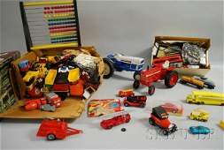 1170 Group of Plastic and Metal Toys two metal tracto