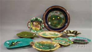 1266: Nine Pieces of Assorted Majolica Glazed Decorated