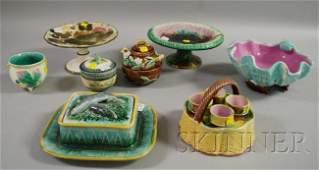 1267: Eight Assorted Majolica Glazed Ceramic Table Item