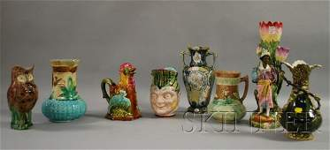 1308: Eight Assorted Majolica Glazed Ceramic Table Item