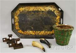 1330: Six Assorted Decorative Items, a green-painted sp