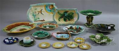 1366: Seventeen Assorted Majolica Glazed Decorated Cer