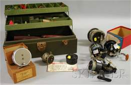1677 Group of Vintage Fishing Reels and a Tackle Box w