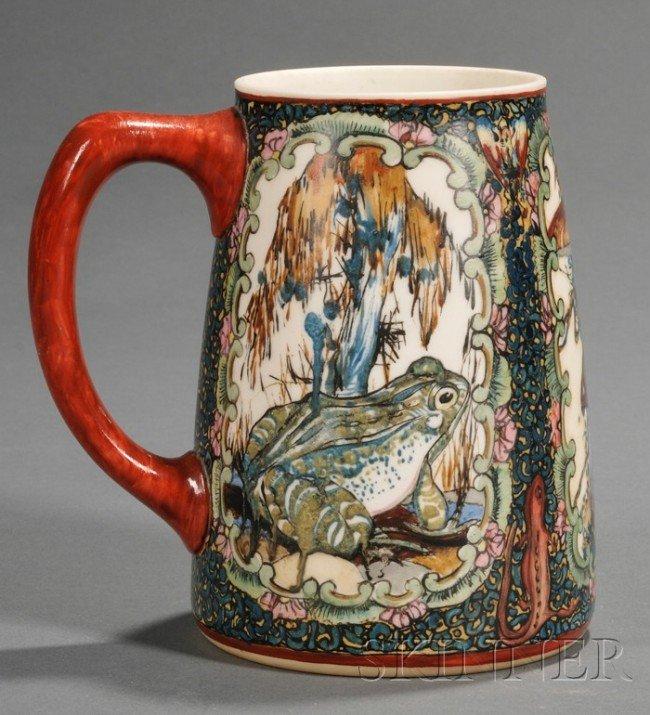 2: American Belleek Handpainted Porcelain Mug, polychro