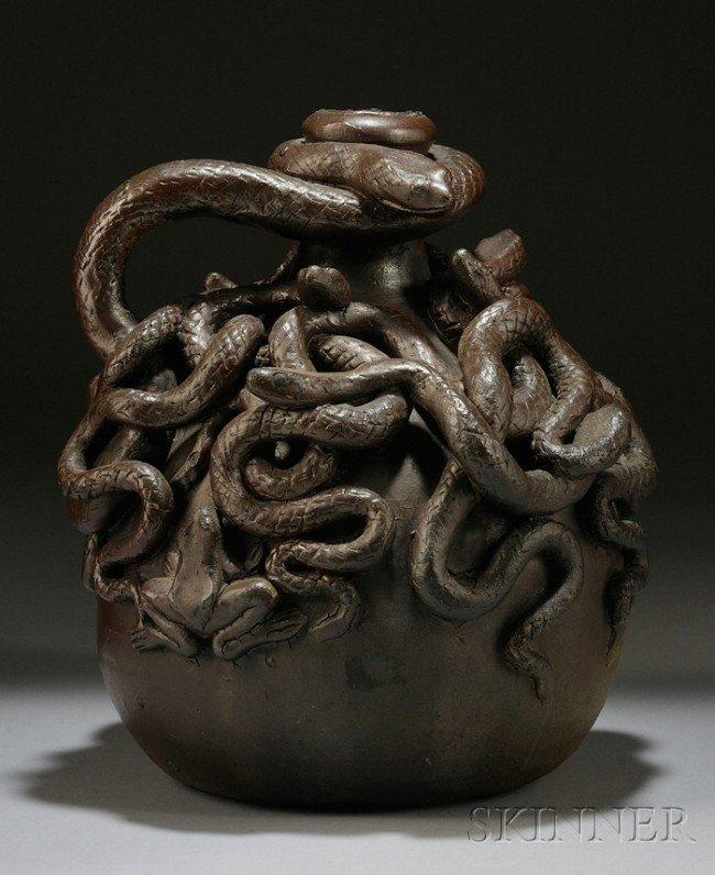 3: Anna Pottery Stoneware Centennial Snake Jug, Illinoi