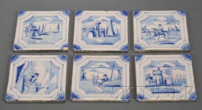 4: Twenty-five Dutch Delft Blue and White Tiles, Hollan