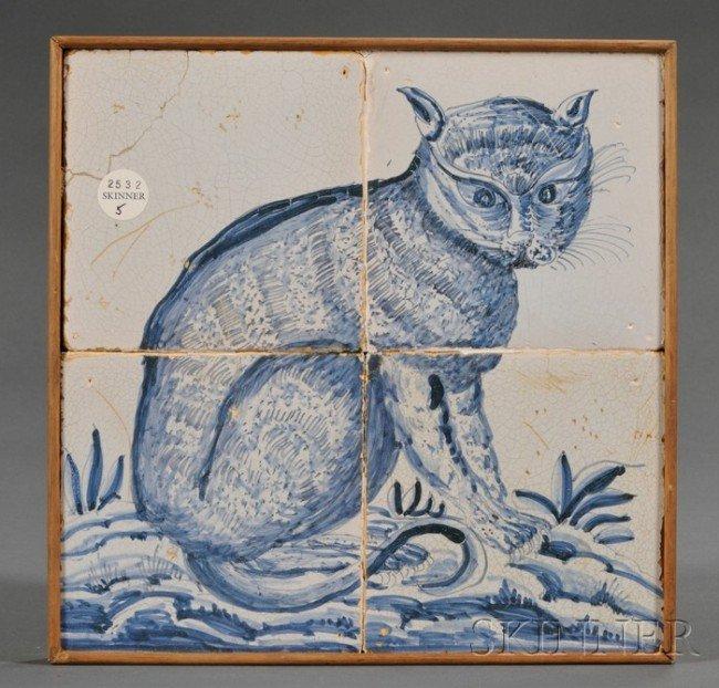 5: Four Tile Dutch Delft Cat Portrait, Holland, late 18
