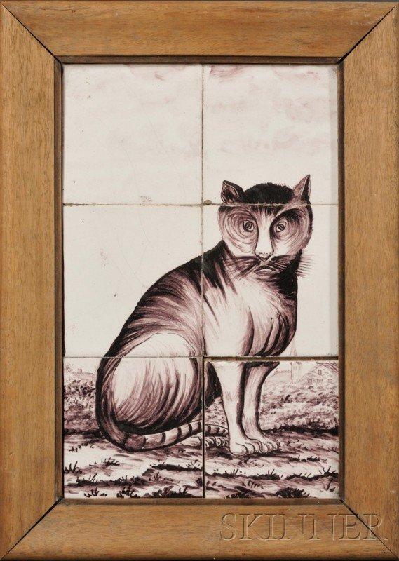 6: Six Tile Dutch Delft Cat Portrait, Holland, late 18t