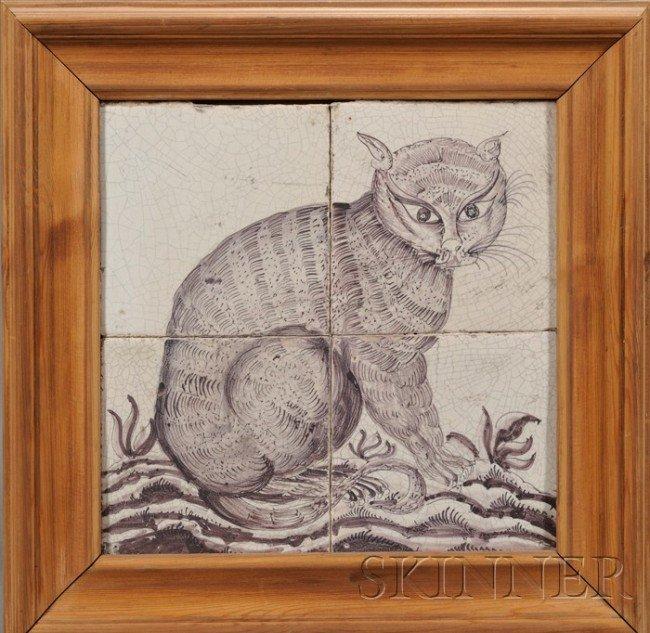 7: Four Tile Dutch Delft Cat Portrait, Holland, 19th ce