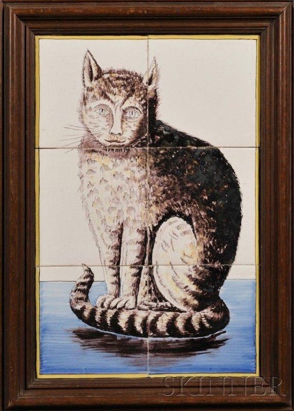 8: Six Tile Dutch Delft Cat Portrait, Holland, 19th cen