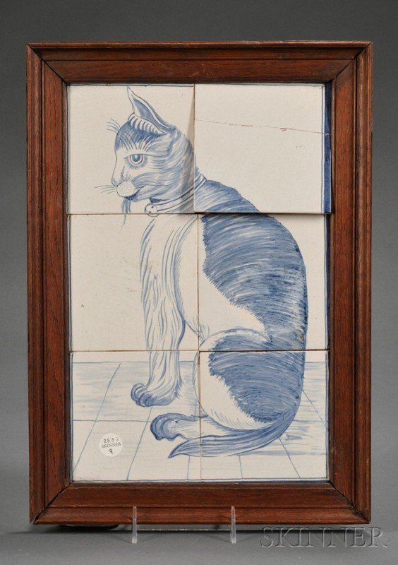 9: Six Tile Dutch Delft Cat Portrait, Holland, 19th cen