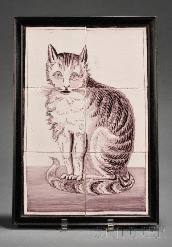 10: Six Tile Dutch Delft Cat Portrait, Holland, 19th ce