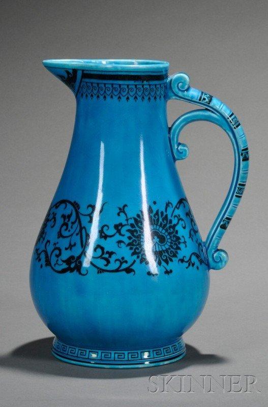 15: Minton Persian Blue Glazed Pitcher, England, c. 187