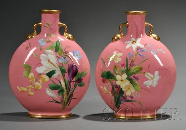 18: Pair of Minton Porcelain Pink Ground Moon Flasks, E