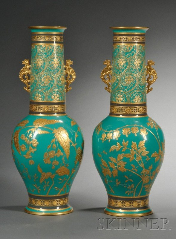 20: Pair of Minton Porcelain Vases, England, 1869, Gree