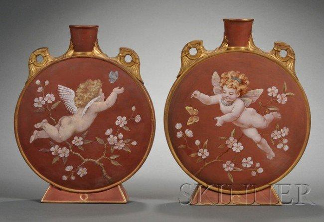 21: Two Minton Terra Cotta Moon Flasks, England, 1873,