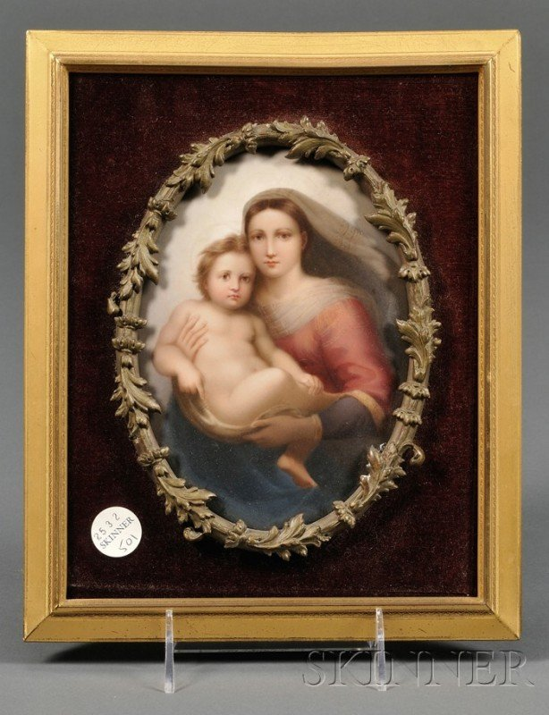 501: KPM Porcelain Plaque Depiction of The Sistine Mado