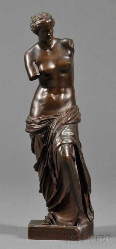 502: Bronze Grand Tour Figure of Venus de Milo, with F.