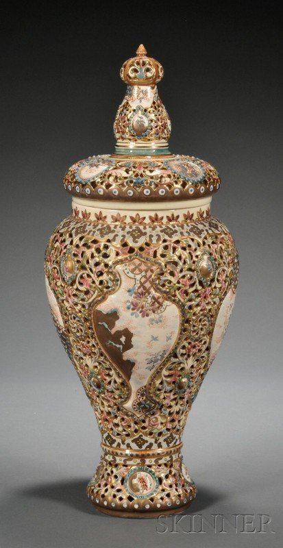 503: Fischer Earthenware Vase and Cover, Hungary, late