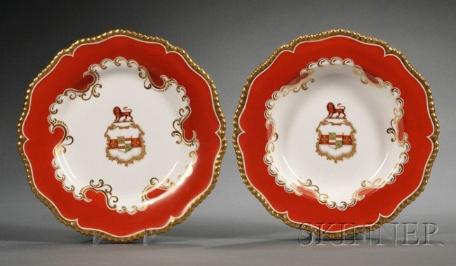 507: Assembled Worcester Porcelain Armorial Decorated S