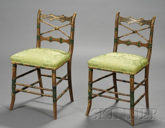 508: Pair of Early Victorian Painted Ballroom Chairs, m
