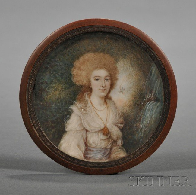 512: Continental Portrait Miniature on Ivory of a Lady,