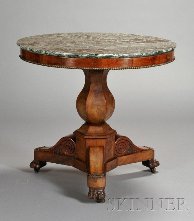 515: Charles X Marble-top Mahogany Center Table, with a