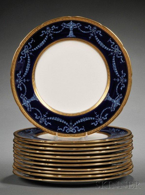 519: Set of Twelve Coalport China Service Plates, Engla