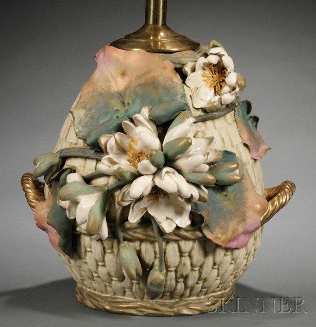 521: Large Amphora Pottery Lamp Base, Turn-Teplitz, lat