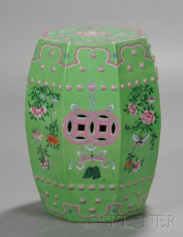 522: Chinese Export Green-glazed Porcelain Garden Seat,