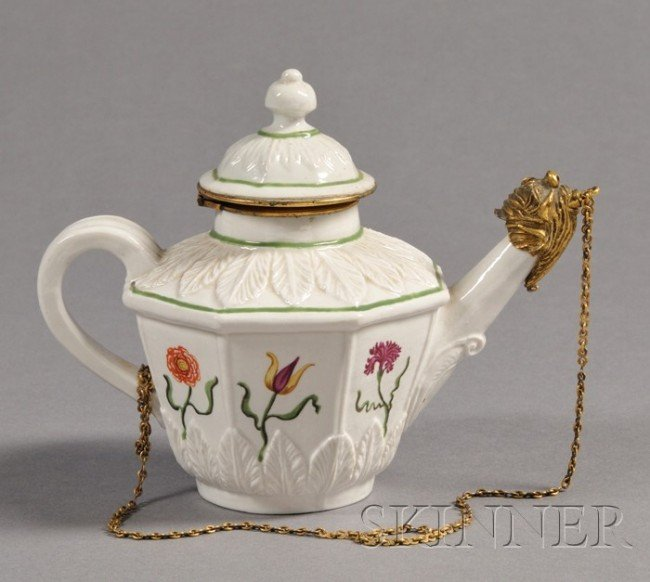 632: Vezzi Porcelain Bronze Mounted Teapot and Cover, V