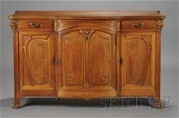 680: French Art Nouveau Carved Walnut Sideboard, c. 190