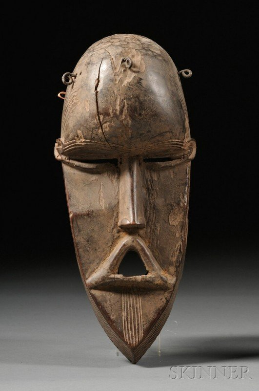 198: African Carved Wood Mask, Loma, with high domed fo