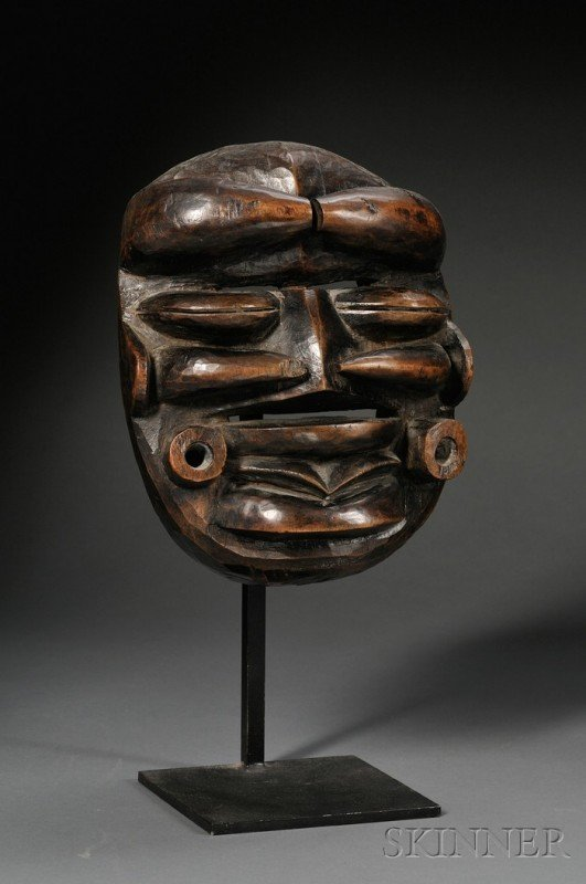 200: African Carved Wood Mask, Bete, the hollow form wi