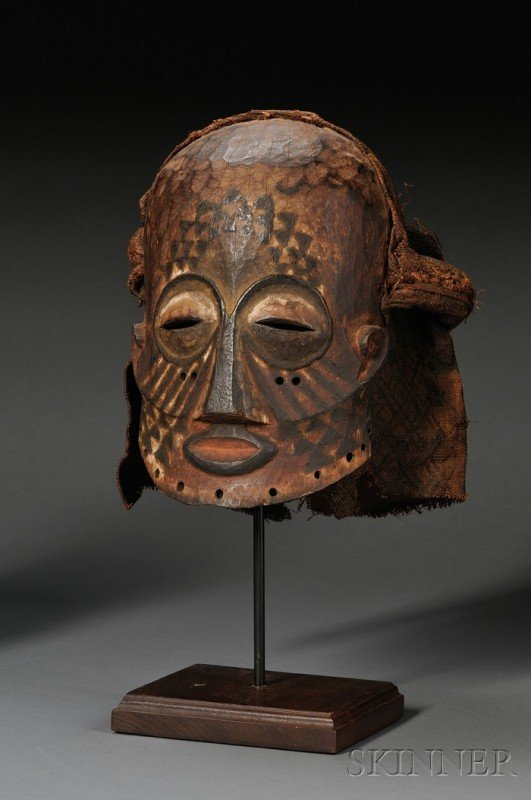201: African Carved-Wood Mask, Kuba, the hollow form ha