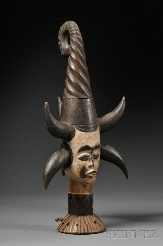 206: Ekoi Carved Wood Headdress, carved in two pieces,