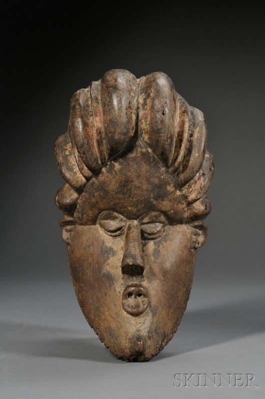 208: African Carved Wood Mask, Bassa, the hollow form w