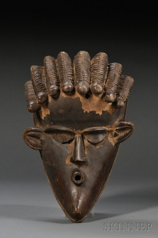 210: African Carved Wood Mask, Bassa, the hollow form w