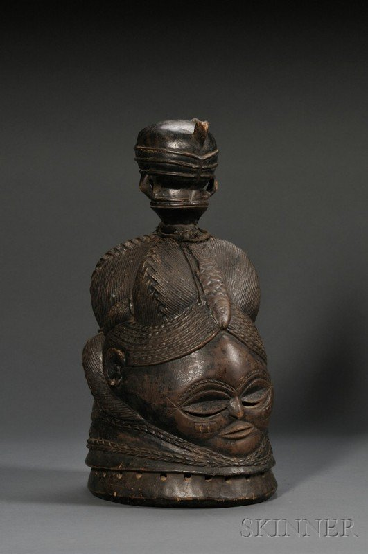 212: Mende Bundu Carved Wood Helmet Mask, Sande Society